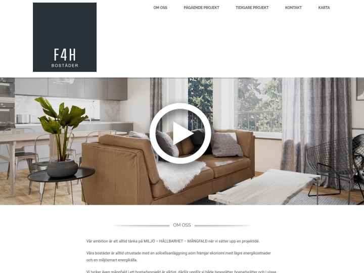 Homepage F4H Bostäder - Play video